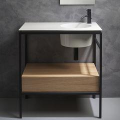 Double tiroir en bois chene clair 80 cm VASQUES - SKYTIR80